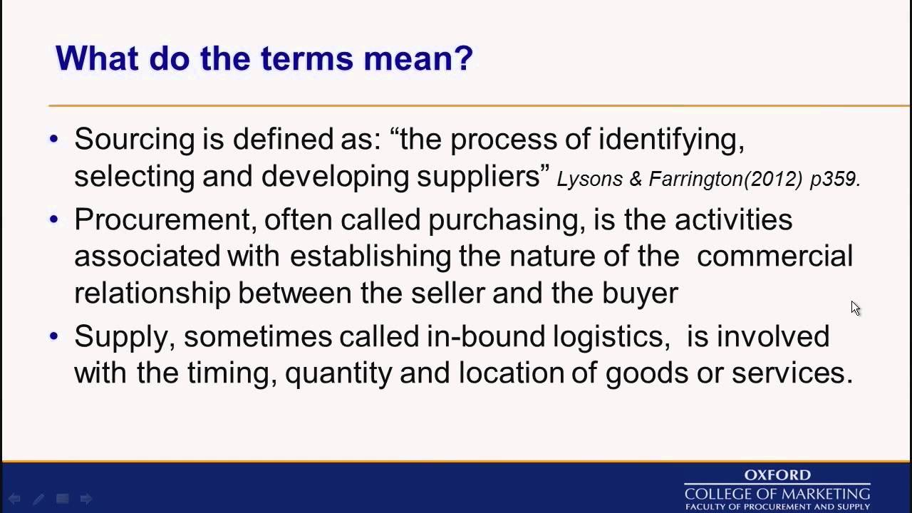 Sourcing in Procurement and Supply