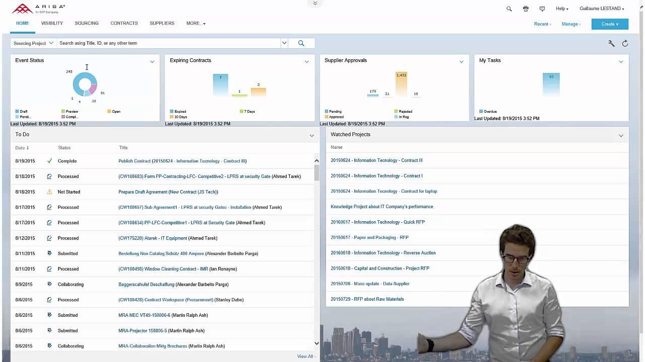 Ariba Sourcing with New UI – Demo of basic functionalities
