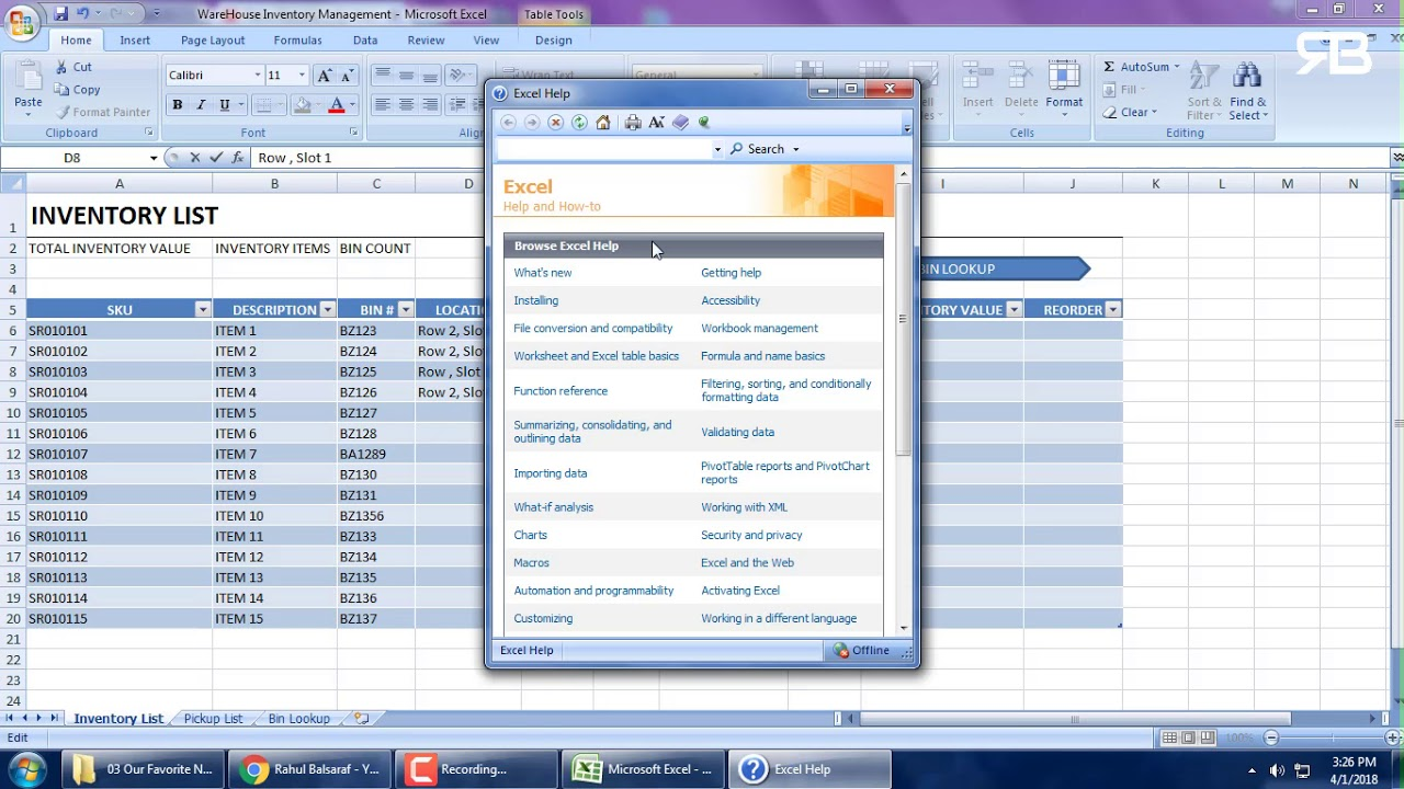 Warehouse Management System in Excel- Complete New 2018…. !!!