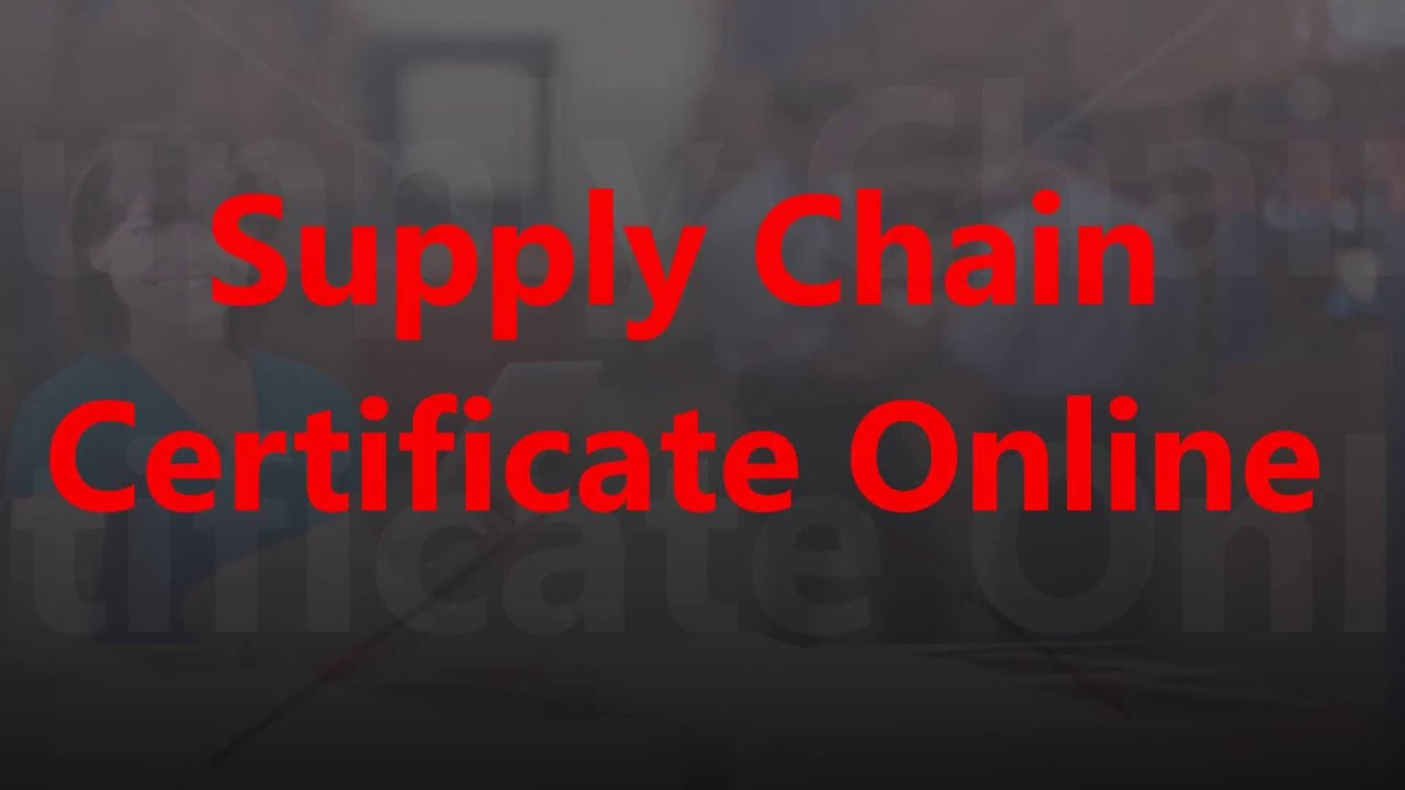 supply chain certification online