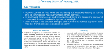 Somalia: Joint Market and Supply Chain Update, 21st February, 2021 – 28th February, 2021 – Somalia